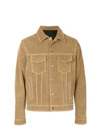 Chaqueta estilo camisa de ante marrón claro de AMI Alexandre Mattiussi