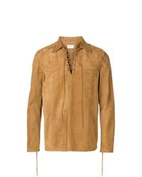 Chaqueta estilo camisa de ante marrón claro de Saint Laurent