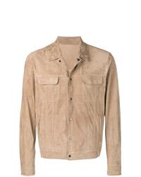 Chaqueta estilo camisa de ante marrón claro de Salvatore Santoro
