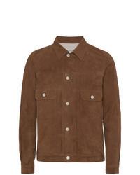 Chaqueta estilo camisa de ante marrón