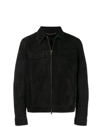 Chaqueta estilo camisa de ante negra de Ajmone