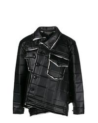 Chaqueta estilo camisa de cuero acolchada negra de Comme Des Garcons Homme Plus