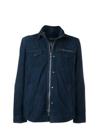 Chaqueta estilo camisa de cuero azul marino de John Varvatos