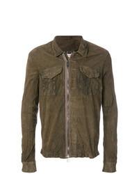 Chaqueta estilo camisa de cuero marrón