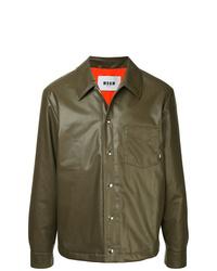 Chaqueta estilo camisa de cuero marrón de MSGM
