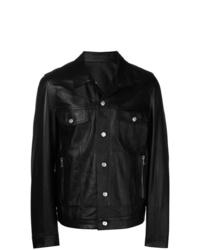 Chaqueta estilo camisa de cuero negra de Balmain
