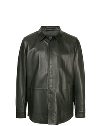 Chaqueta estilo camisa de cuero negra de D'urban