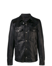 Chaqueta estilo camisa de cuero negra de Diesel Black Gold