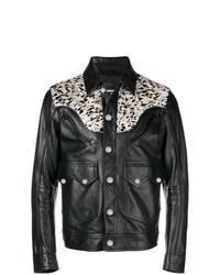 Chaqueta estilo camisa de cuero negra de DSQUARED2