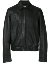 Chaqueta estilo camisa de cuero negra de Just Cavalli
