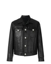 Chaqueta estilo camisa de cuero negra de Neil Barrett
