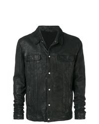 Chaqueta estilo camisa de cuero negra de Salvatore Santoro