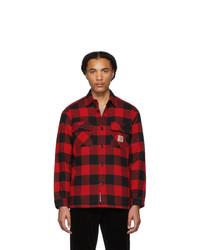 Chaqueta estilo camisa de franela a cuadros roja