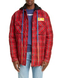 Chaqueta estilo camisa de franela de tartán roja