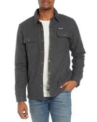 Chaqueta estilo camisa de franela en gris oscuro