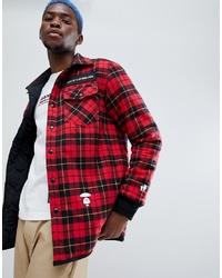 Chaqueta estilo camisa de lana a cuadros roja