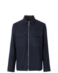 Chaqueta estilo camisa de lana azul marino de Burberry