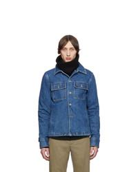 Chaqueta estilo camisa de lana azul