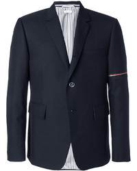 Chaqueta estilo camisa de lana de rayas horizontales azul marino de Thom Browne