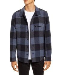 Chaqueta estilo camisa de lana de tartán azul marino