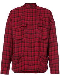 Chaqueta estilo camisa de lana de tartán burdeos de Haider Ackermann