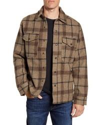 Chaqueta estilo camisa de lana de tartán marrón
