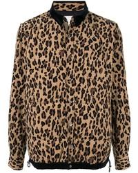 Chaqueta estilo camisa de leopardo marrón de Sacai