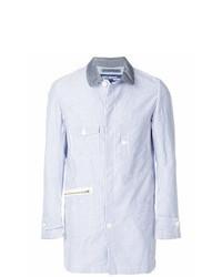 Chaqueta estilo camisa de rayas verticales celeste