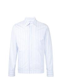 Chaqueta estilo camisa de rayas verticales celeste de Kent & Curwen