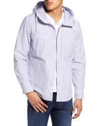 Chaqueta estilo camisa de rayas verticales en blanco y azul