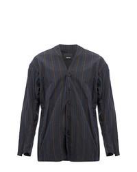 Chaqueta estilo camisa de rayas verticales en gris oscuro