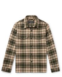 Chaqueta estilo camisa de tartán marrón claro