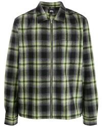 Chaqueta estilo camisa de tartán negra de Stussy