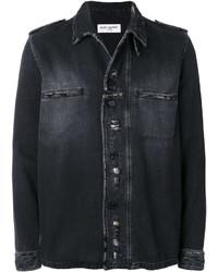 Chaqueta estilo camisa desgastada negra de Saint Laurent