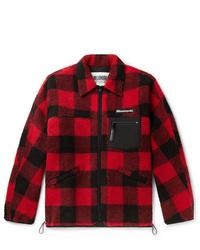 Chaqueta estilo camisa en rojo y negro