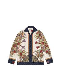 Chaqueta estilo camisa estampada blanca de Gucci