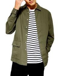 Chaqueta estilo camisa verde oliva