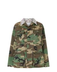 Chaqueta Militar de Camuflaje Verde Oliva de Forte Dei Marmi Couture