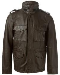 Chaqueta militar de cuero en marrón oscuro de Aspesi