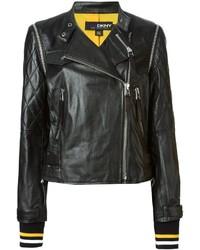 Chaqueta motera de cuero acolchada negra de DKNY