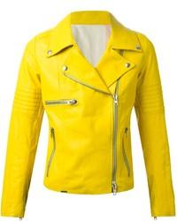 Chaqueta Motera de Cuero Amarilla de S.W.O.R.D.