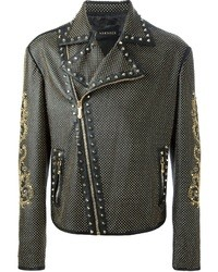 Chaqueta motera de cuero con adornos negra de Versace