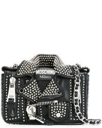 Chaqueta motera de cuero negra de Moschino