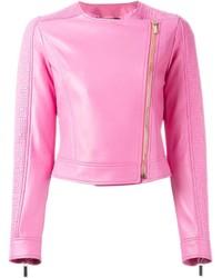 Chaqueta motera de cuero rosa de Versace