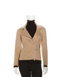 Chaqueta motera de lana marrón claro