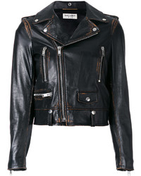 Chaqueta motera en marrón oscuro de Saint Laurent
