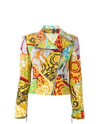 Chaqueta motera estampada en multicolor de Versace Vintage