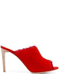 Chinelas de ante rojas de Giuseppe Zanotti Design