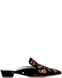 Chinelas de cuero bordadas negras de Sam Edelman