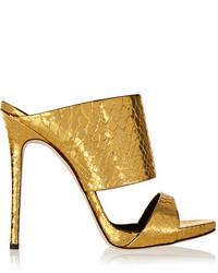 Chinelas de cuero doradas